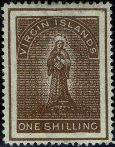 VIRGIN ISLANDS #20 1889 ONE SHILLING ST. URSULA ISSUE-MINT-NO GUM--VF/XF