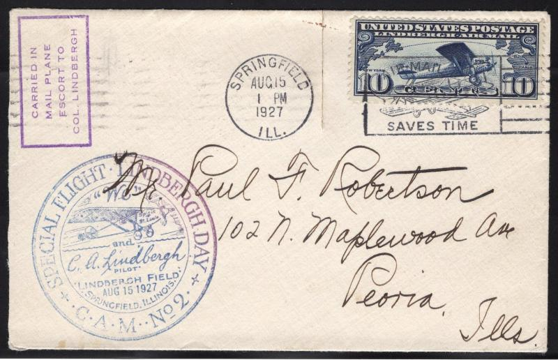 US#C10 Dark Blue - Lindbergh Mail Flight Cover