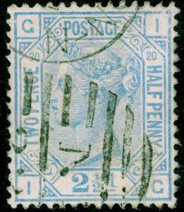 SG142, 2½d blue PLATE 20, USED, CDS. Cat £45. IG