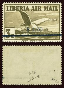 LIBERIA Scott #C49 1944 airmail albatross unused VLH bend and soiling