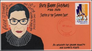 20-169, 2020,Ruth Bauer Ginsburg, Event Cover, Local Postmark, Seneca Falls NY,