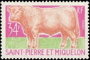 St. Pierre & Miquelon #404-406, Incomplete Set(2), W/O 407, 1970, Animals, Ne...