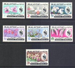 Malaya Negri Sembilan Scott 76/82 - SG81/87, 1965 Orchids Set MH*