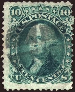 U.S. #96 10c Green 1868  Used ::F Grill:: Cross roads Cancel CV $260