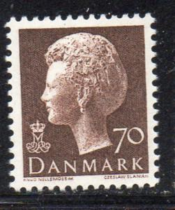 Denmark Sc 535 1974 70 ore dark brown Queen stamp NH