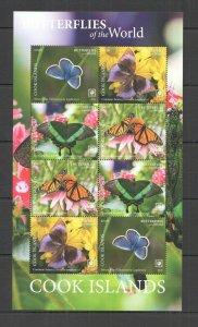 R0185 2020 COOK ISLANDS BUTTERFLIES OF THE WORLD FLORA & FAUNA SH MNH