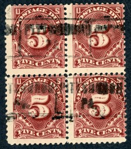 #J34 – 1895 5c Postage Due Stamp.  Block of 4.  Used.