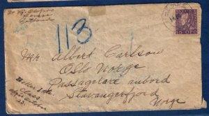 Rare Sweden Postal Cover Facit #175A Gustav 15 ore Violet (Scott #167):19.10.25
