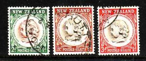 New Zealand-Sc#B46-8-used semi-postal set-Child's Head-1955-