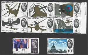 Great Britain #430p-37p Mint set, 26th anniv. battle of Britain, issued 1965