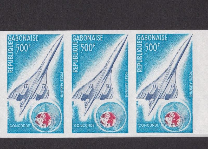 gabon 1976 concorde rare imperf mnh stamps  with margin crease/ tear ref r12890