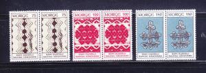 Norway 623-625 Pairs Set MNH Handicraft (D)
