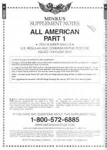 Minkus All American Part 1 MAA112 Supplement 2012