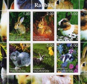 Tajikistan 2000 RABBITS - FLOWERS Sheetlet (6) MNH