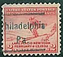 USA - OLYMPIC GAMES 1932 LAKE PLACID - pre-stamped 2 CENT - PHILADELPHIA, PA