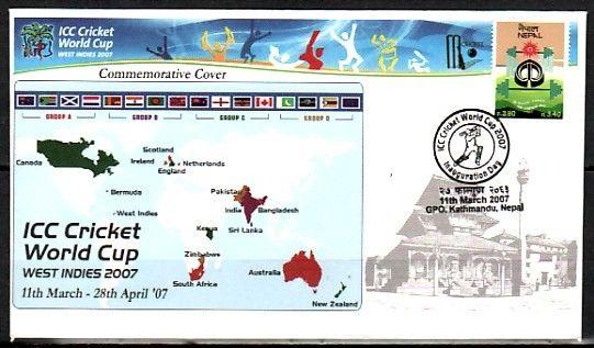 Nepal, 11/MAR/07 issue. Cricket World Cup Cancel on a Souvenir Cover.