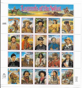USA 2869 MNH  SHEETS LEGENDS OF THE WEST