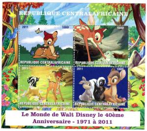 Central African Republic 2011 DISNEY Bambi Sheet (4) Perforated Mint (NH)