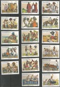 TRANSKEI, 1984-90, MNH Set of 17, Definitive, Scott 129-150