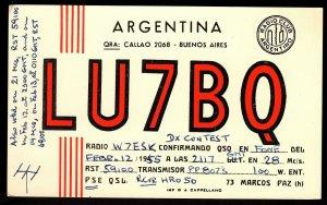 QSL QSO RADIO CARD LU7BQ,Marcos Paz,Buenos Aires,Argentina (Q2850)