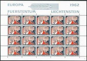 Liechtenstein 370 sheet,MNH.Michel 418 bogen. EUROPE CEPT-1962.Hands.