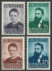 Surinam B49-B52,MNH.Michel 315-318. Marie Curie,Wm. Roenthen.Against Cancer,1950