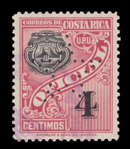COSTA RICA 1937 OFFICIAL STAMP. SCOTT # O84. UPH