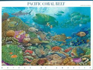US 2004 Nature of America Pacific Coral Reef Sheet; 37 Cents, MNH Sc 3831