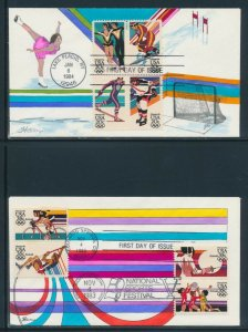 #2067-2070, C109-C112 ON 2 DIFF OLYMPICS FDC CACHET BY HAM HANDPAINTED BV1387