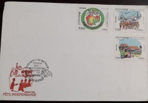 O) 1999 CAMBODIA, INDEPENDENCE - PEOPLE - SHIP - AIRPLANE - DOVE - PUBLICK WORK