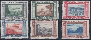 IT1) Italy 1030 Zeppelin set of 6, fresh mint unhinged. SG 372/77