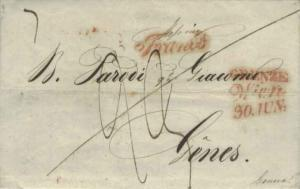 Austria Wien 1843 red script sl on Stampless Folded Letter to Geneva, Switzer...