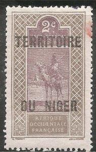 Niger Stamp - Scott #2/A1 2c Dark Gray & Dull Violet OG Mint/LH 1921