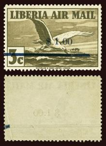 LIBERIA Scott #C49 1944 airmail albatross NH with a repair