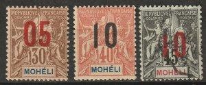 Moheli 1912 Sc 19-21 MH*/used