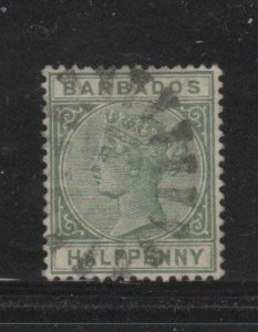 BARBADOS #60  1882  1/2p   QUEEN VICTORIA    F-VF  USED   i