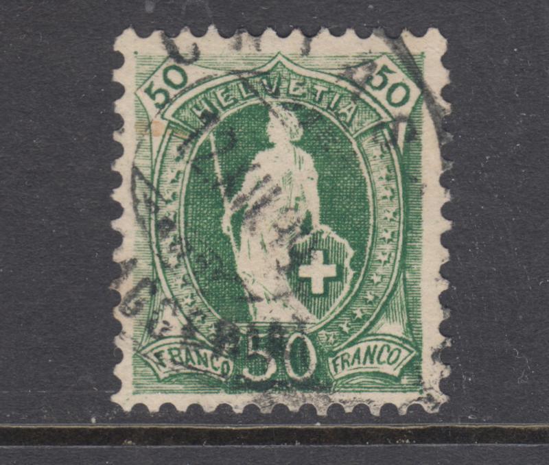 Switzerland Sc 96 used. 1899 50c green Standing Helvetia, perf crease