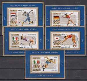 Ajman, Mi cat. 1210-1214 C. Olympic Winners issue as Deluxe s/sheets. USED. ^