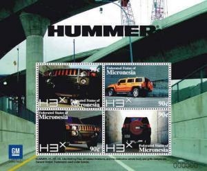 Micronesia - Hummer Cars - 4  Stamp Sheet MIC0802SH