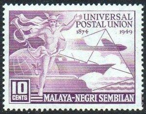 Negri Sembilan 1949 10c purple (75th Anniversary of U.P.U.) MH