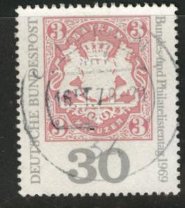 Germany Scott 1008 used 1969 embossed stamp on stamp