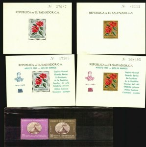 El Salvador MLH stamp s/s perforated & imperforated + overprint volcano militar