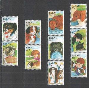 AB0174 PALAU FAUNA PETS DOMESTIC ANIMALS DOGS SET MNH