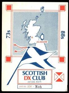 QSL QSO RADIO CARD Scottish DX Club,Saltire,David, Glasgow Scotland (Q3872)