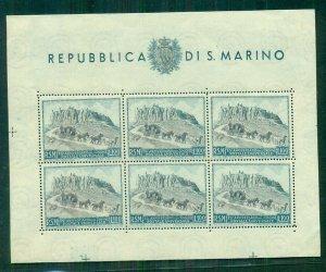 SAN  MARINO #304, Souvenir sheet of 6, og, LH, VF, Scott $200.00