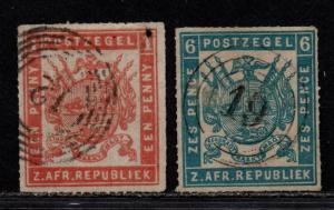 $Transvaal Sc#36 38 used, F-VF, part set, Cv. $315
