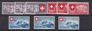 SWITZERLAND^^^^^^^1939  sc# 247-255  better  hinged   set  $$@ lar 2547swiss