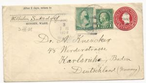 US POSTAL STATIONERY COVER US to Germany Unusual Use of 19th Century Stamp