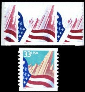 3281b, MNH Lt Blue & Yellow Colors Omitted Error Coil Pair RARE! - Stuart Katz
