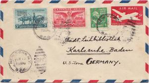 Airmail Issues 6c Alexandria Virginia with 1c Washington Prexie and 3c Minne...